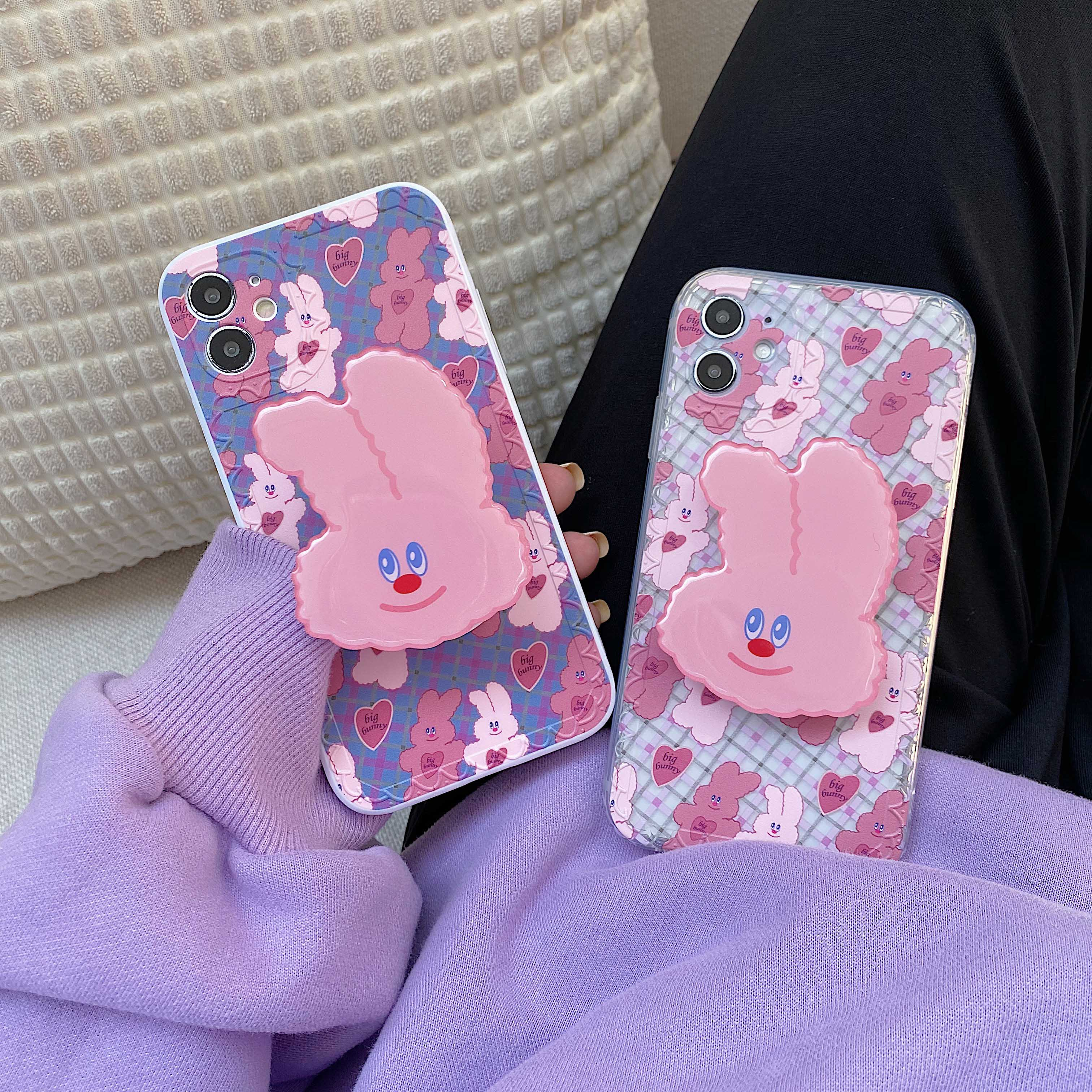 3D Cute Pink Rabbit Stand Holder Phone Case For Iphone 11 12 Mini Pro Max XR XS MAX X 7 8 Plus Korea Ins Case Soft Silicon Cover