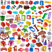 Legoing Duplo Accessories Diy Building Blocks Model Tree stump Torch Saddle Farm guardrail Wardrobe Window Tile roof Duploe Toys(China)