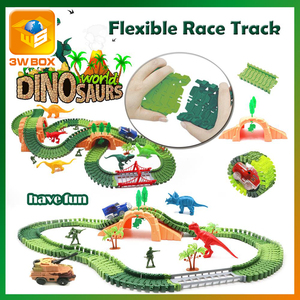 3WBOX Magic Glowing Track Racing Track Toy Universal Accessories Educational railway Toys for Children Gifts traffic light