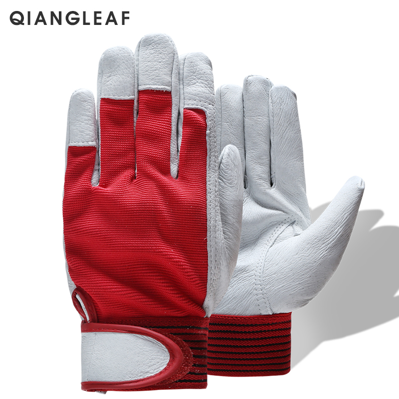 QIANGLEAF Brand Fashion Red Products Mechanic Leather Coated  Work Gloves Safety Industrial Working Protective Sport Glove 5163
