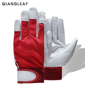 QIANGLEAF marka moda czerwone produkty mechanik skórzane powlekane rękawice robocze bezpieczeństwo przemysłowe robocze ochronne sportowe rękawice 5163 tanie i dobre opinie Skóra Rękawice spawacza ISO9001 CE Genuine Leather + Stretch Cloth None Velcros 2019 01 30 Not waterproof Breathable Conventional