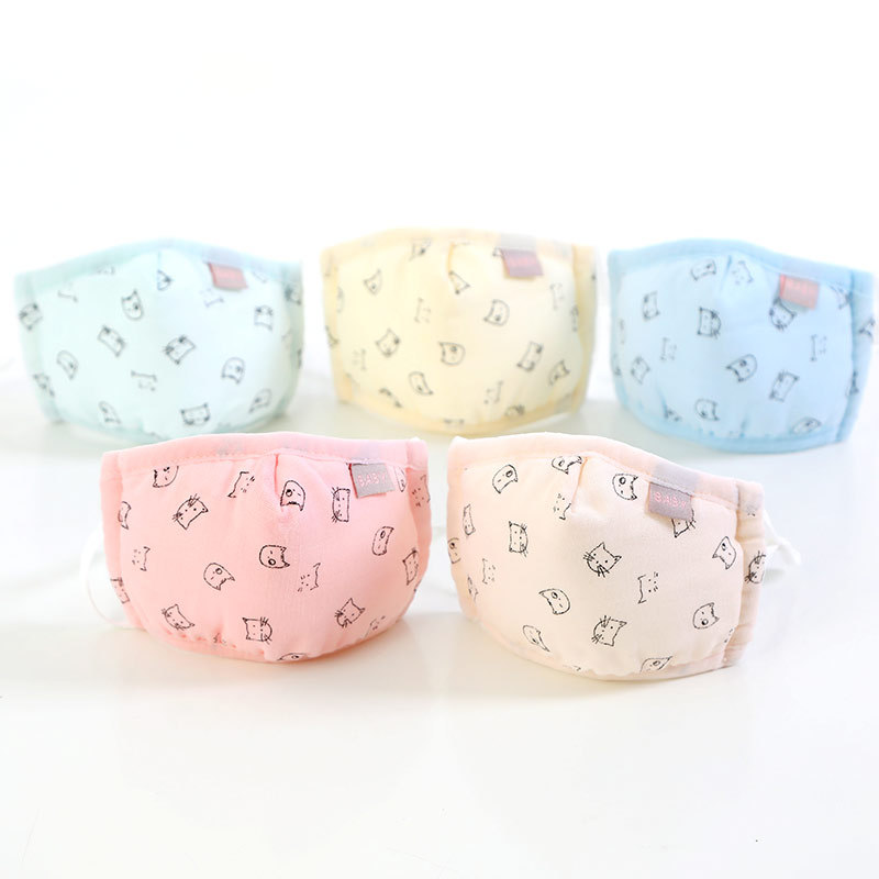 Boy Girl Face Cotton Mask Children Breathable Carton Mask Washable Cotton Kids Cute Animal Anti-Dust Mouth Masks
