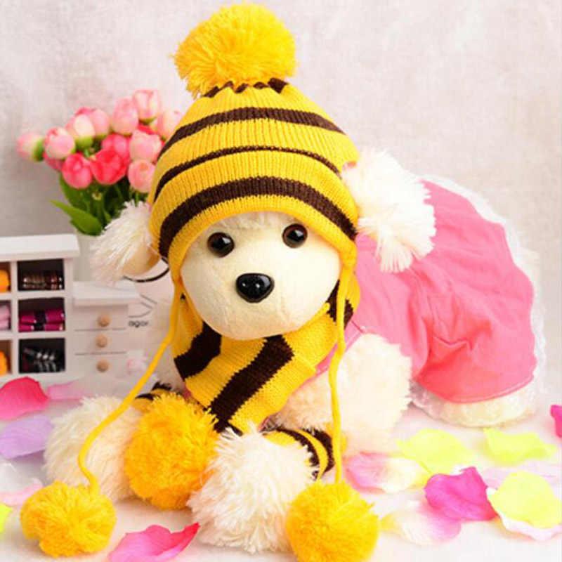 3 Buah/Set Anjing Cap Franse Bulldog Topi untuk Anjing Musim Dingin Perlengkapan Yorkshire Terrier Corgi Stripe Rajutan Syal Anak Anjing Pakaian Kostum