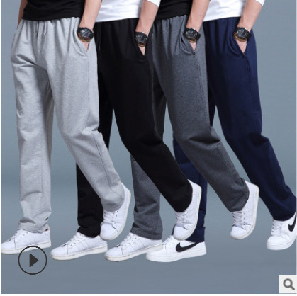 Spring And Autumn MEN'S Sports Pants Men's Thin Trousers Loose-Fit Plus-sized Pants Straight-Cut Casual Pants Sweatpants