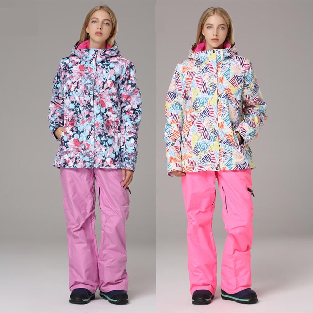 -30 Winter Women Snow Ski Suit Wear Clothing Snowboarding Set Waterproof Windproof Mountain Ski Jacket and Pant Female SportWear