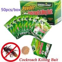 50 Packs Green Leaf Powder Cockroach Killer Bait Repeller Killing Trap Pest Control garden Kitchen Effective Cockroach Killing