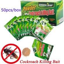 Lote de paquetes de polvo de hoja verde mata cucarachas para el hogar, repelente para insectos para control y exterminio de plagas, efectivo, para jardín, cocina, 50 unidades