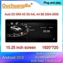 Ouchuangbo รถวิทยุมัลติมีเดียสำหรับ10.25นิ้ว A5 S5 A4L A4 B8 MMI 2G 2004 2009 Android 10สเตอริโอ Gps หน่วย128GB