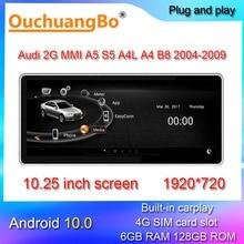 Ouchuangbo araba radyo multimedya 10.25 inç A5 S5 A4L A4 B8 MMI 2G 2004 2009 android 10 stereo gps kafa ünitesi 128GB