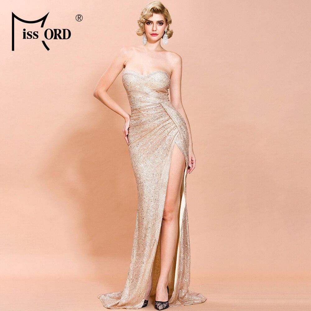 Missord 2020 Women Sexy Slash Neck Off Shoulder Glitter Dresses Female Elegant High Split Maxi Dress  FT19888