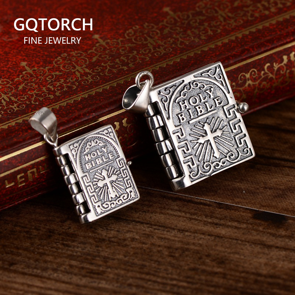 925 Sterling Silver Holy Bible Cross Pendant Necklace For Man And Women Book Type Carving Engraved