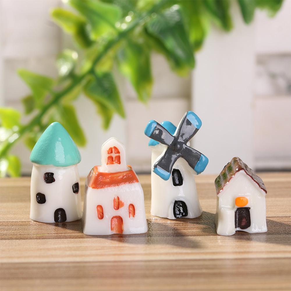 4Pcs Miniature Resin Windmill Dollhouse Ornament Fairy Bonsai Statue Decor