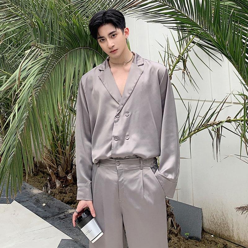 Men 2PCS Sets (shirt+pants) Male Vintage Fashion Long Sleeve Loose Casual Shirt Style Suit Jacket Streetwear Wide Leg Trousers