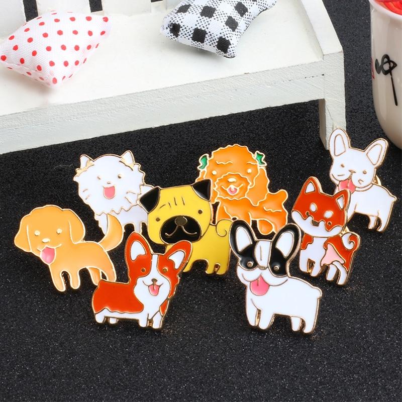 Pet Bulldog Pug collar pin badge cute enamel pin brooch woman jewelrXBUK