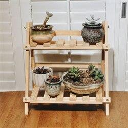 2Tier BambooWooden Fiore Pianta Floor Stand Ripiani Cremagliera Pianta Fiore di Visualizzazione Del Basamento Del Supporto di Mensola Rack di Stoccaggio All'aperto Giardino