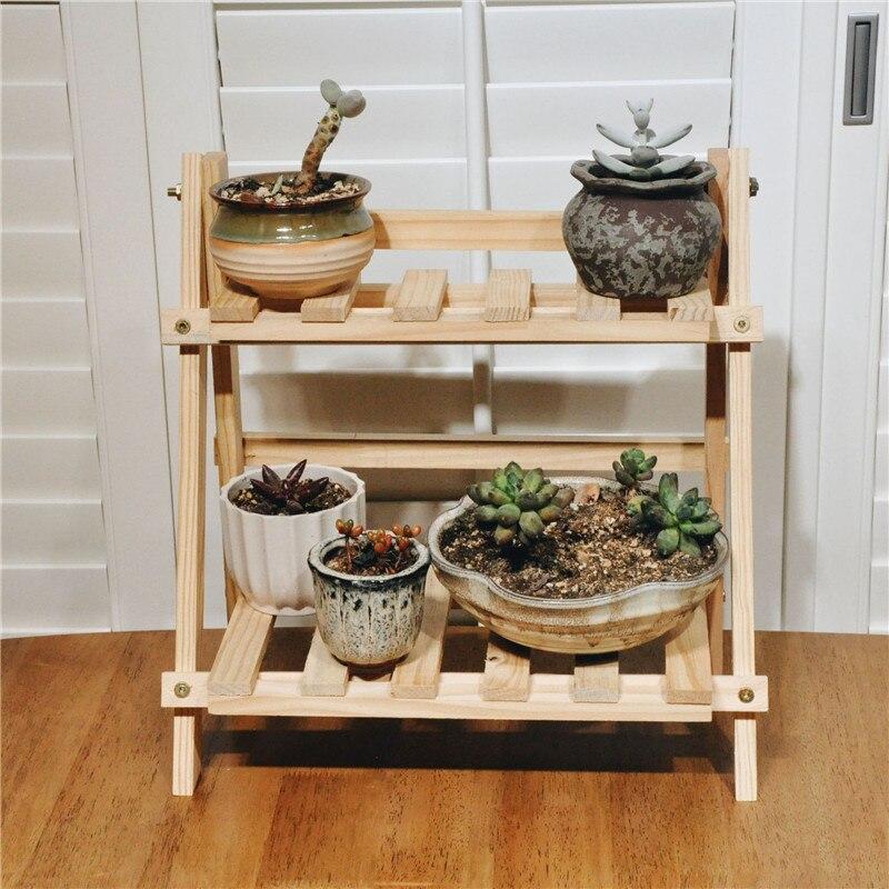Estante de pie para planta de flores de bambú de 2 niveles, estante de exhibición para plantas y flores, estante de almacenamiento para jardín