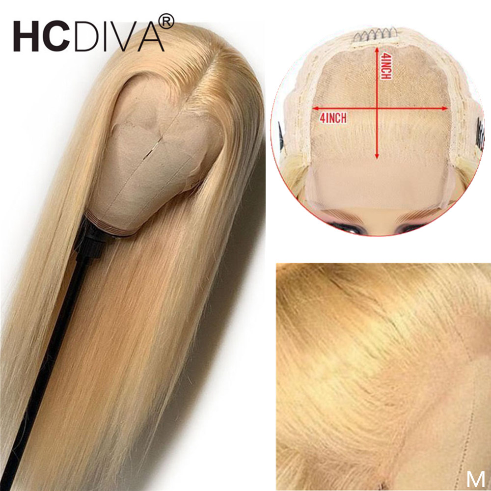 Brazilian Lace Wig 4*4 Straight Lace Closure Wig 150% 26inch Remy Human Hair Wigs 613 Blonde Lace Wig Pre Plucked With Baby Hair
