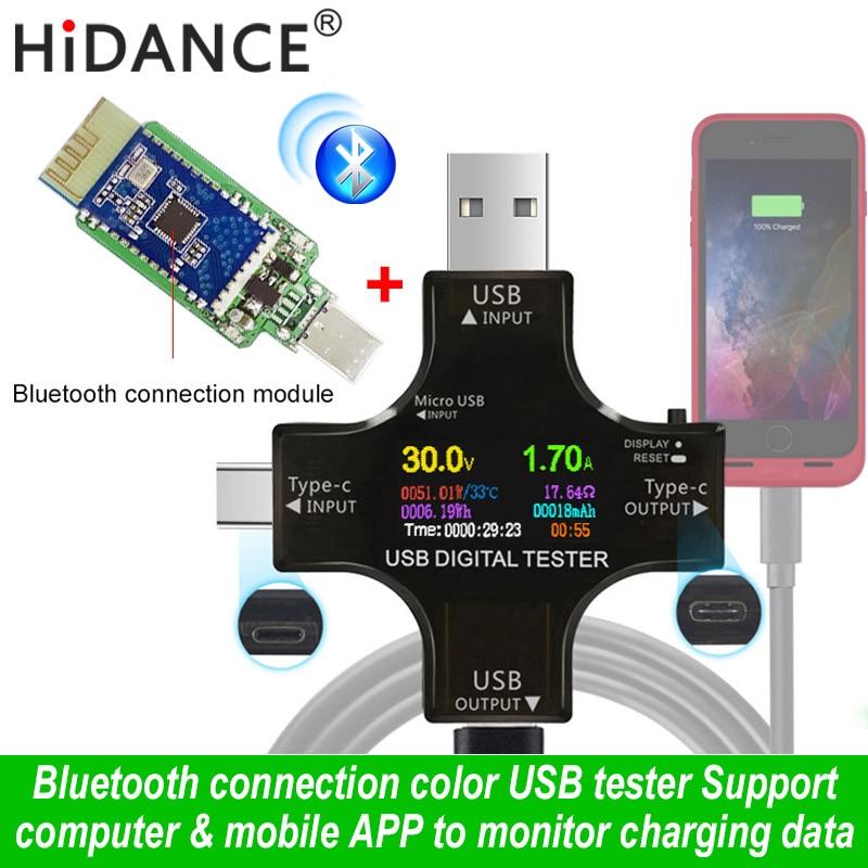 Usb tester sem fio bluetooth dc voltímetro tensão de corrente USB-C pd medidor volt amp amperímetro detector banco potência carregador indicador