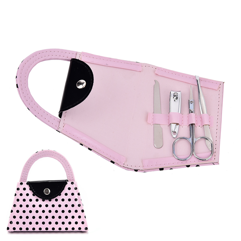1set Stainless Steel High Quality 13*12*2cm 4Pcs/set Pink Color Dot Purse Manicure Pedicure Tool Kits Bridesmaid Wedding Gifts
