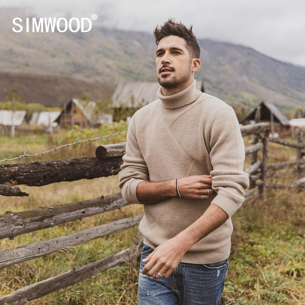 SIMWOOD 2019 Autumn Winter Patchwork Turtleneck Sweater Men Jacquard Knitwear Geometric Anti-pilling Pullover  SI980744