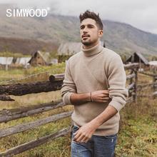 Simwood 2019 outono inverno retalhos camisola de gola alta masculina jacquard malhas geométricas anti pilling pulôver si980744
