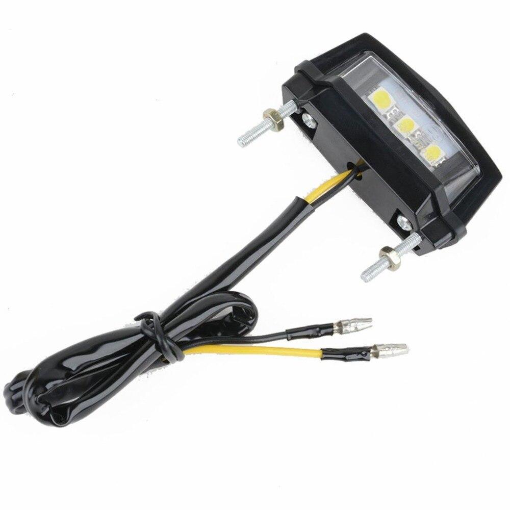 3LEDs Motorcycle Black Mini LED Licence Plate Light Rear Tail Lamp Light