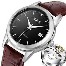 Automatyczny zegarek męski z własnym wiatrem ze stali nierdzewnej przezroczysty tył pokrywy skrzynka wodoodporny zegarek samochodowy mężczyzn