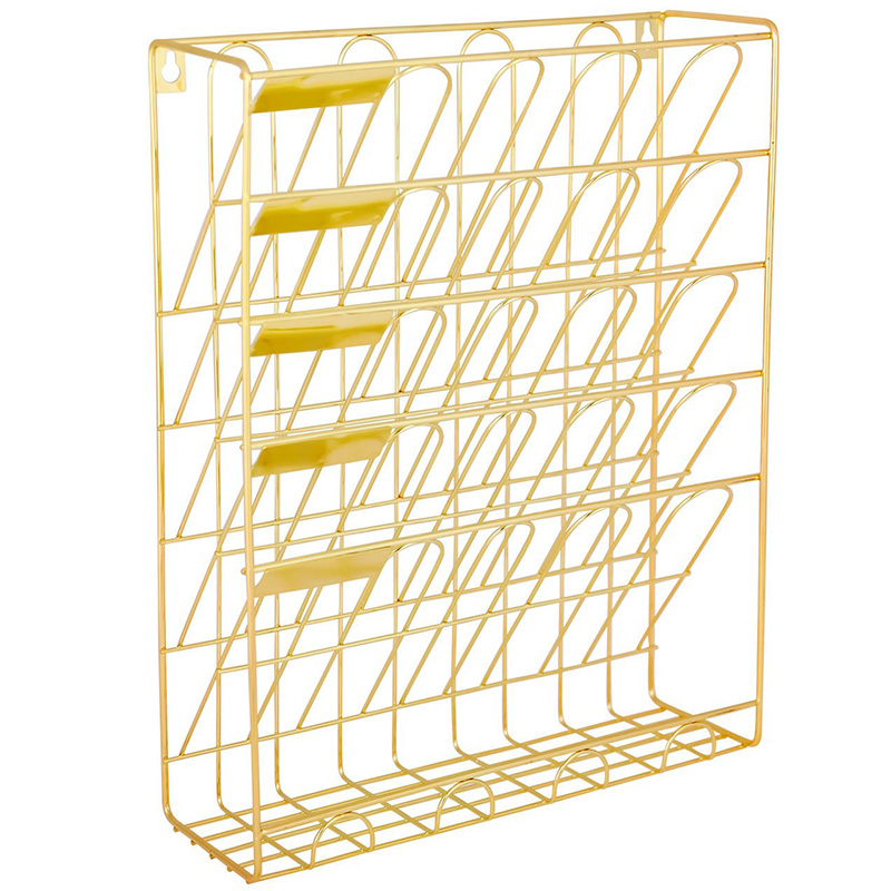 Hanging Wall File Organizer, 5 Slot Wire Metal Wall Mounted Document Holder For Office Home, Gold