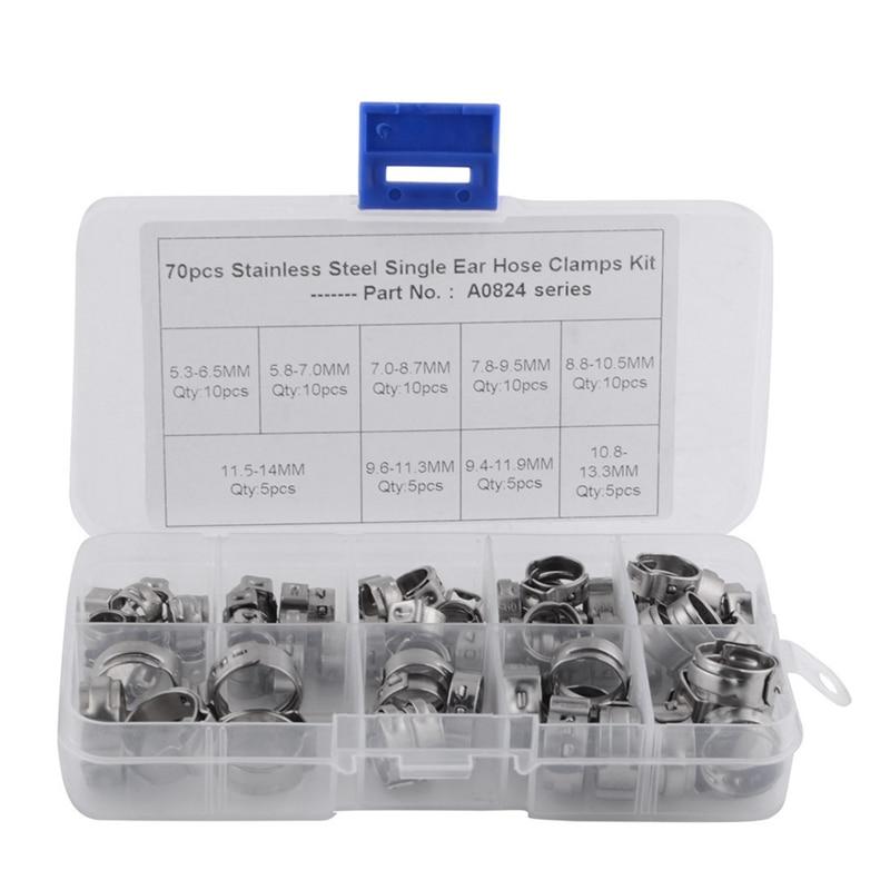 70Pcs/Set Single Ear Hose Clamps Hose Fuel Clamps Assortment For Hydraulic Hose Fuel 5.3-14.0Mm