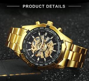 Image 3 - Vencedor oficial clássico relógio automático masculino esqueleto mecânico dos homens relógios marca superior luxo ouro aço inoxidável cinta