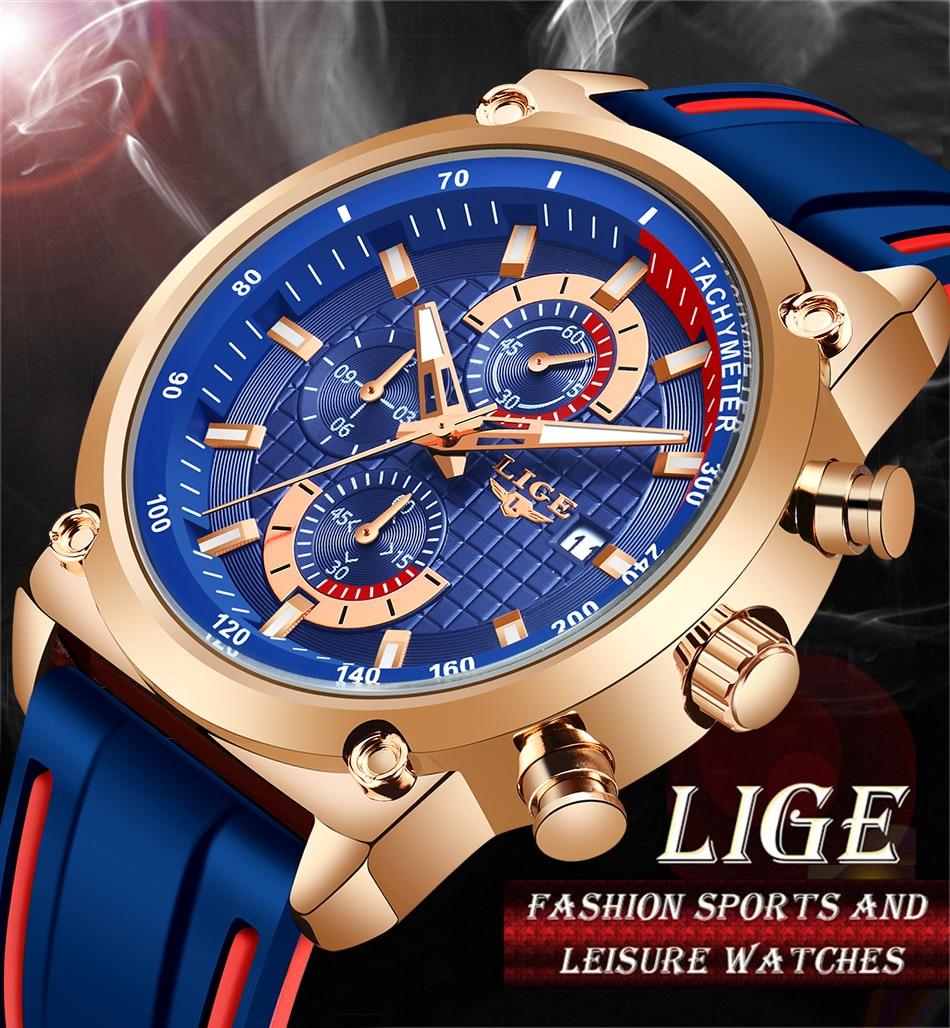 H02f25208f5ef4bc0b913fee0574dcaedl New Top Fashion Chronograph Quartz Men Watches LIGE Silicone Strap Date Wristwatch Clock Male Luminous Watch Relogio Masculino