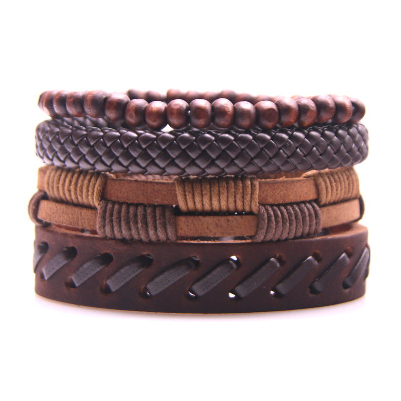 New 2020! Vintage Jewelry Multilayer Brown Leather Bracelet Men Fashion Handmade Braided Rope Bracelet Bangle Women Accessories