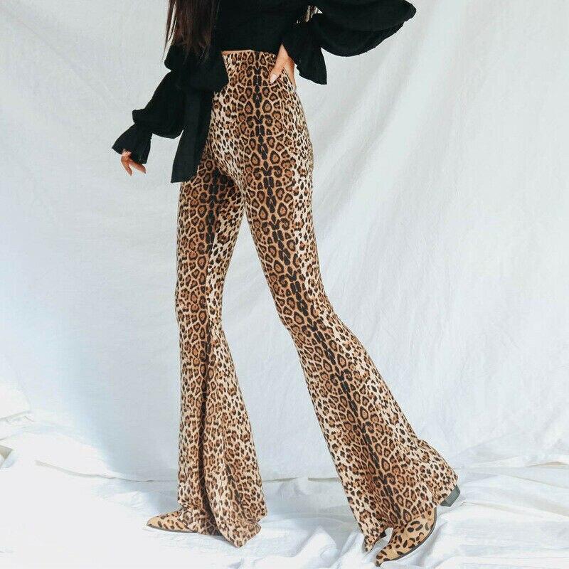 Womens   Wide     Leg   Long   Pants   Flared Bell Bottom   Pants   Ladies Fashion Leopard   Wide     Leg   Trouser Womens   Wide     Leg   Long   Pants   Flared