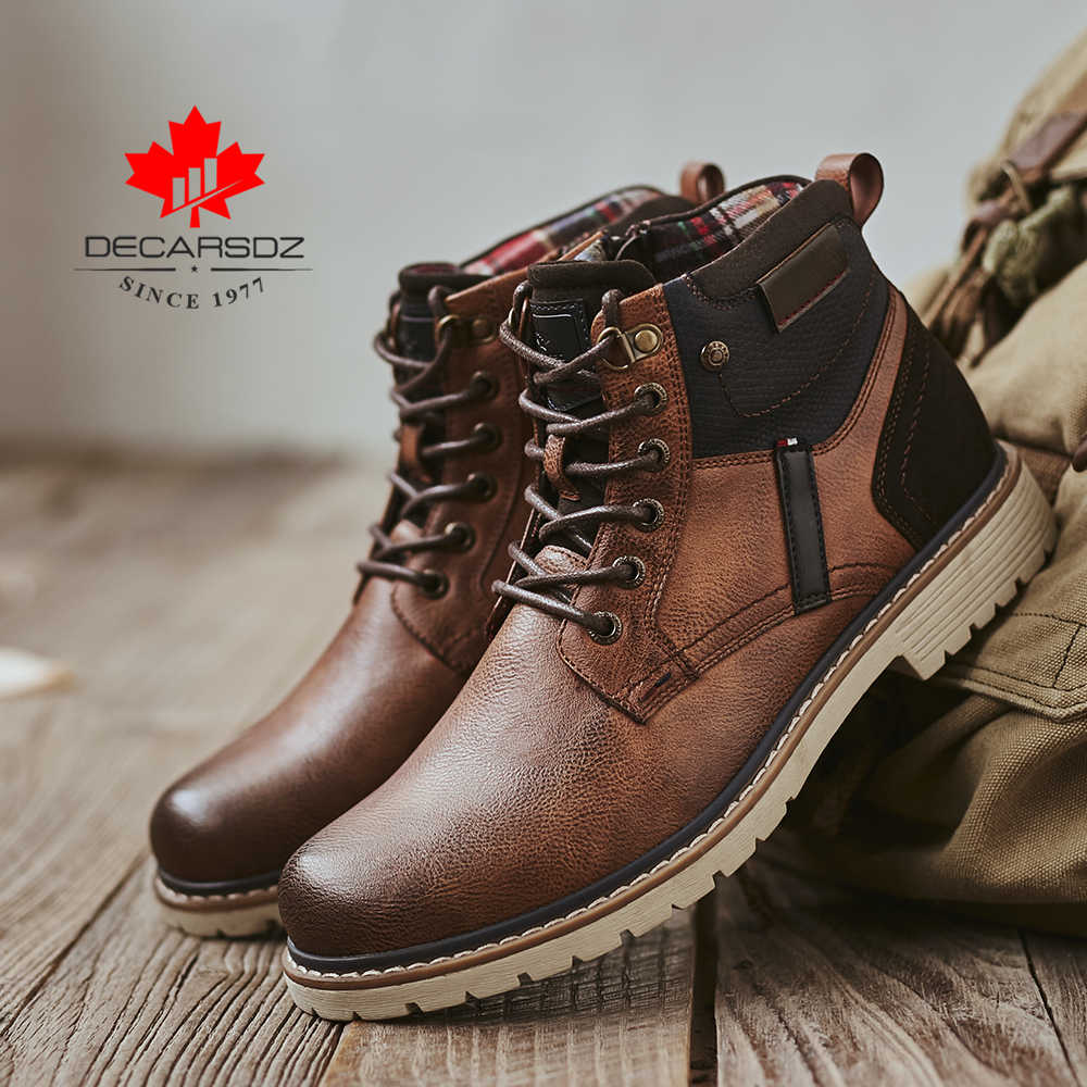 Men's Boots Man Autumn Botas Brand Lace-up Comfy Fashion Shoes Men 2019 New Classic Outdoor Leather Casual Boots Men Basic Boots