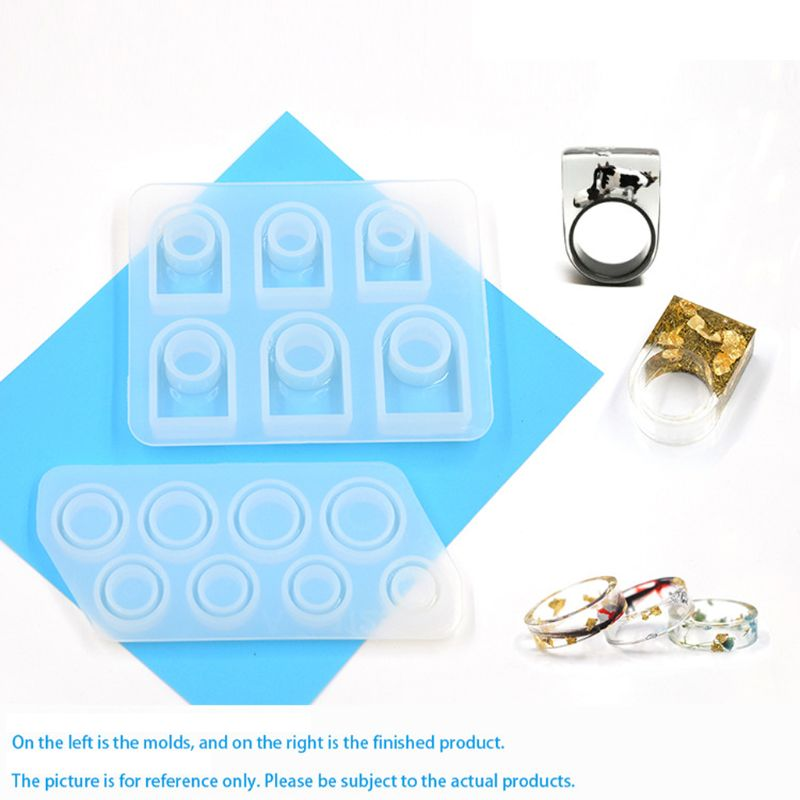 2Pcs Handmade All Sizes US Size 5-12 Silicone Ring Resin Molds Kit Jewelry Tools
