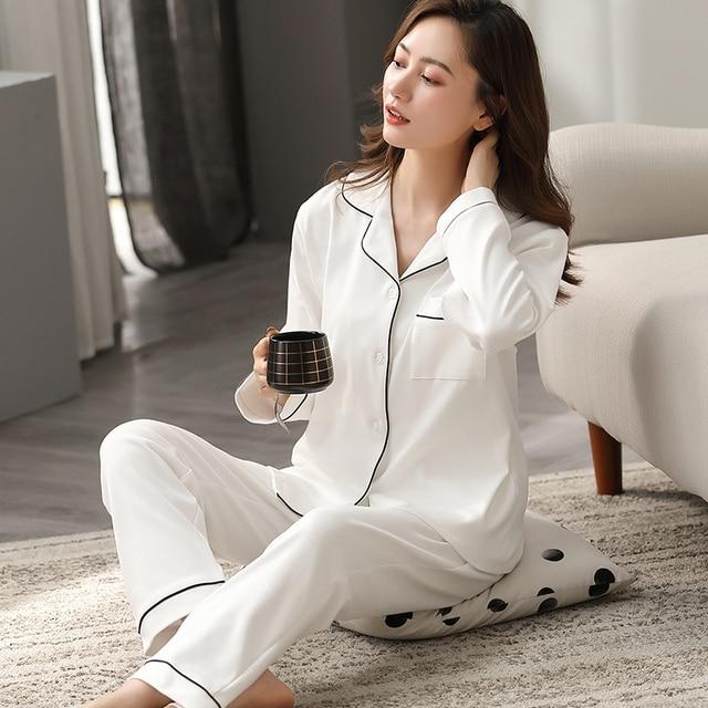 100% Cotton Pajamas for Women PJ Full Sleeves Pijama Mujer Invierno Button-Down Winter Sleepwear Set Women White Cotton Pyjamas