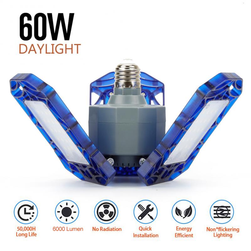 60W/40W LED Garage Light E27 E26 Three Leaf Garage Light IP65 Waterproof AC 85-265V Industrial Lamps For Warehouse Workshop New