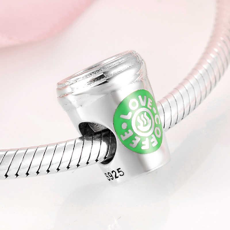 925 Sterling Silver zielona emaliowana filiżanka kawy wisiorki koraliki pasuje oryginalny Pandora kobiety bransoletka bransoletka biżuteria zrób to sam making