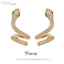Yhpup Fashion Brand Snake Stud Earrings Luxury Cubic Zirconia Statement Charm Copper Earrings for Women Wedding Party Gift 2020