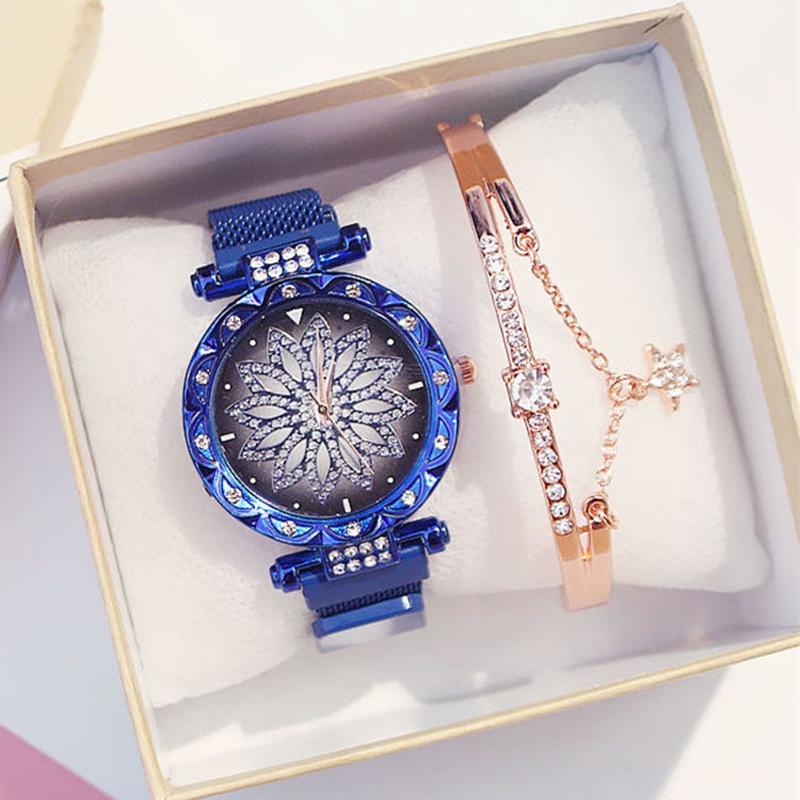 IsMyStore: 2020 Women Set Watches Luxury Magnetic Watches Women Rose Gold Fashion Ladies Geometric Surface Quartz Clock Relogio Feminino