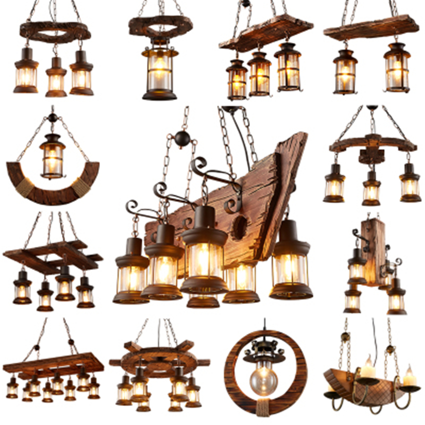 American Retro Cafe Bar Solid Wood Pendant Lamps Industrial Wind Loft Living Roon Restaurant Indoor Deco Hanging Lamp Luminarie