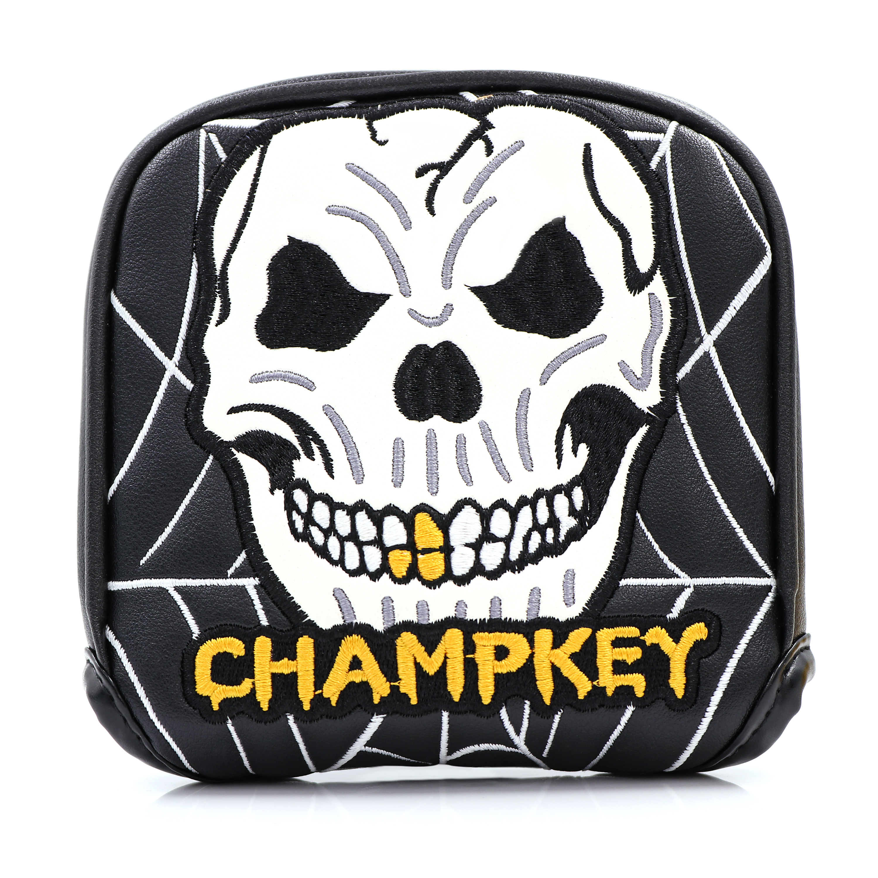 Champkey Golf Mallet Headcover Putter Cover For Center-shaft Club Magnetic Closure Black White PU Leather Skull Embroidery