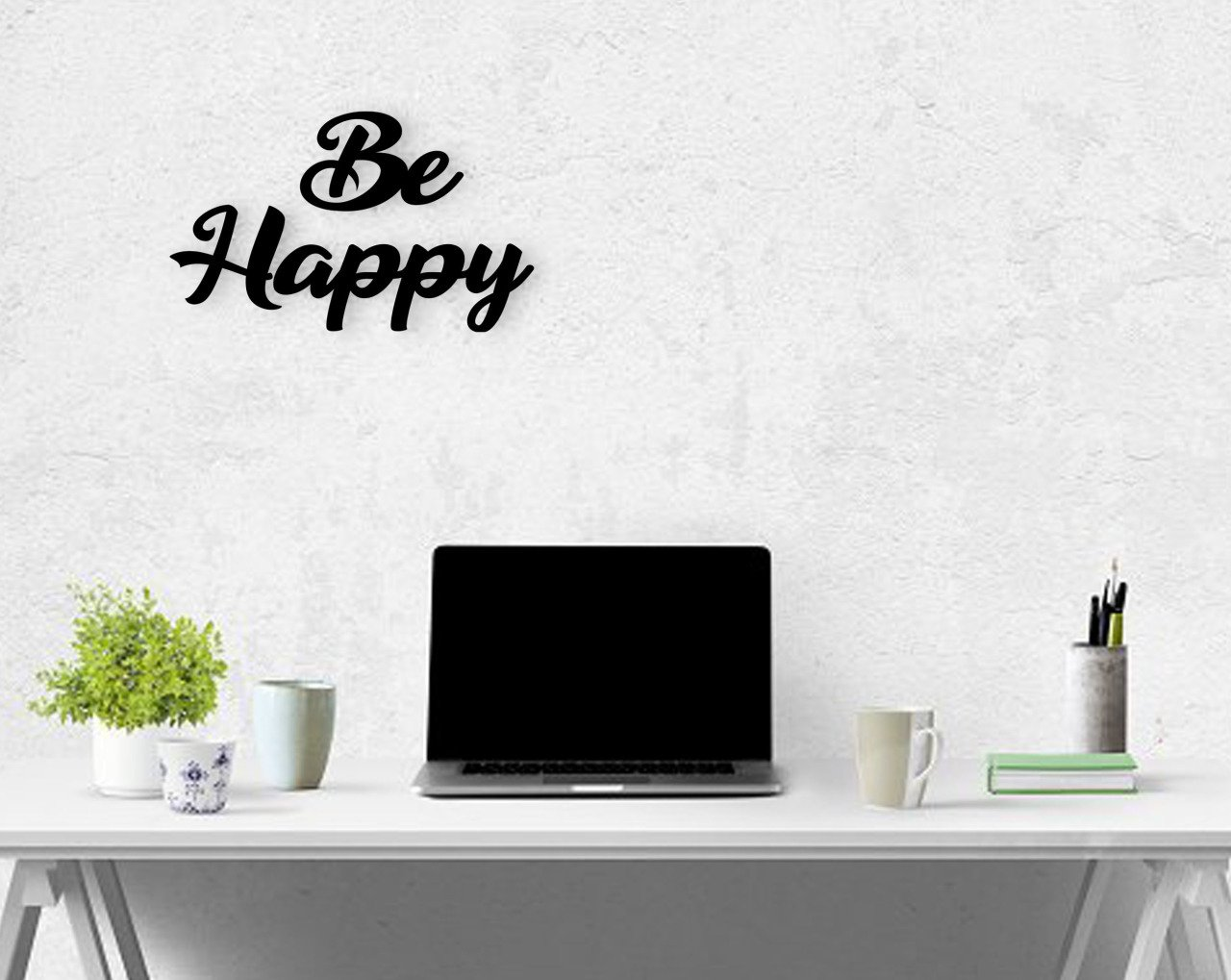 BK Home Be Happy Wooden Wall Post Modern Convenient Reliable Decoration Gift Quality Design Simple Cool Black Color