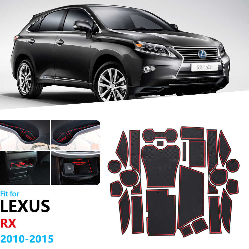 Antypoślizgowe gumowe maty do schowków mata na kubki dla Lexus RX RX270 RX350 RX450h 2010 2012 2013 2014 2015 akcesoria 270 350 450h naklejki
