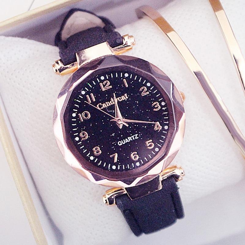Fashion Women Watches Casual Ladies Watches Starry Sky Watch Leather Band Quartz Wristwatches Clock Relogio Feminino reloj mujer