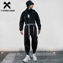 Pants Tactical Cargo-Overalls Harajuku Dark-Reflective Trousers Strip Joggers Men Hip-Hop