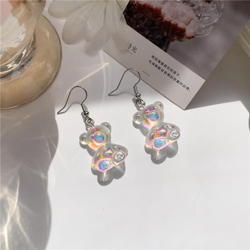 Adorável urso transparente animal feminino doces brincos de resina tridimensional jóias senhora moda orelha acessório
