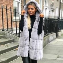 Женский жилет без рукавов, пальто с капюшоном, Осень-зима, однотонное теплое длинное шерстяное пальто, женская верхняя одежда, chalecos, жилеты, пальто, para mujer размера плюс