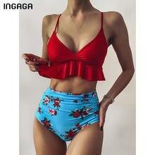 INGAGA-Bikinis de cintura alta para mujer, traje de baño de realce con volante rojo, bikini con estampado Floral, traje de baño fruncido 2021