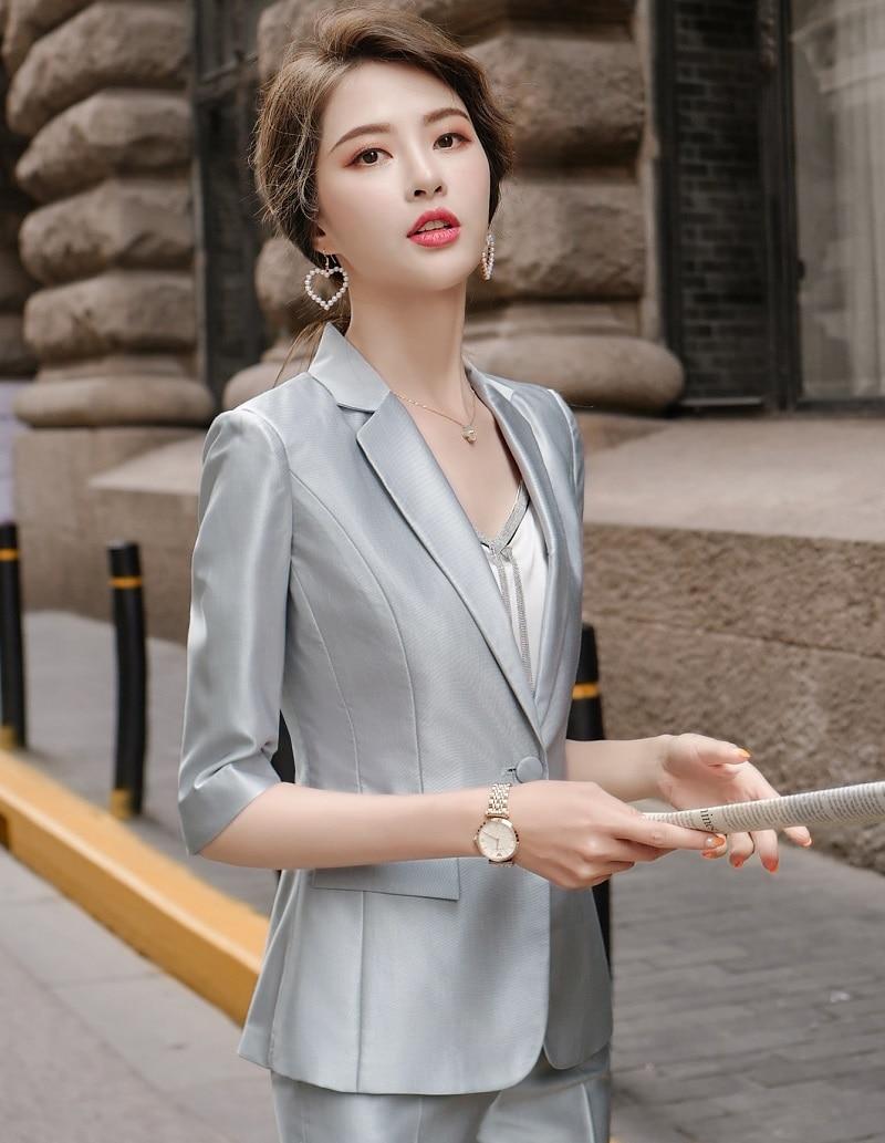 Women Suits Slim Summer Half Sleeve Blazers Jacket Pants 2-piece Set OL Formal Women Pants Suits Woman Set Suits 967